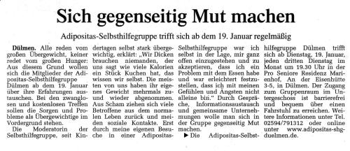 Artikel in DZ 04 06.01.2010