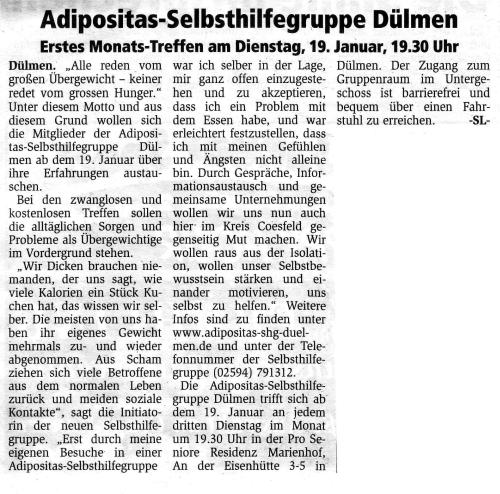 Artikel in Streiflichter 06.01.2010